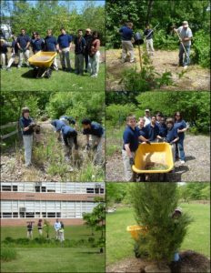 May 5 & 10, 2011 Adams Academy Students & Volunteers; Ricky planting Eastern Red Cedar