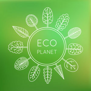 Ecology concept, eco planet. Trees around the globe on green blurred background. Vector illustration.