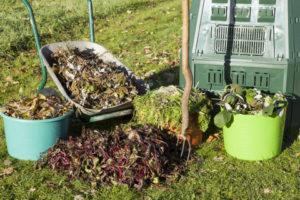 Organic compost,compost bin in a autumn garden.