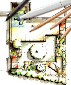 Landscaping - handdrawn Garden plan of modern small City Garden